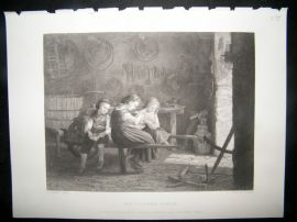 Children 1875 Steel Engraving. The Cooper's Family